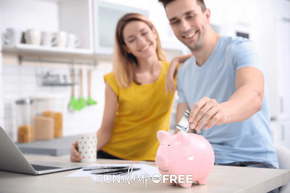 man and woman putting money in piggy bank, from Fun Cheap or Free