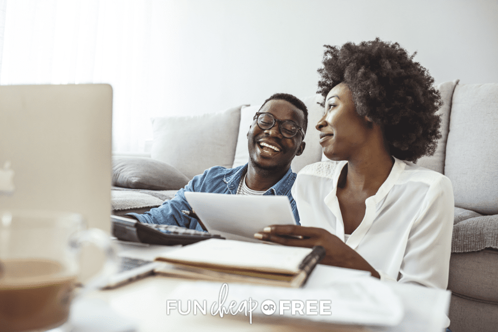 young couple doing their taxes online, from Fun Cheap or Free