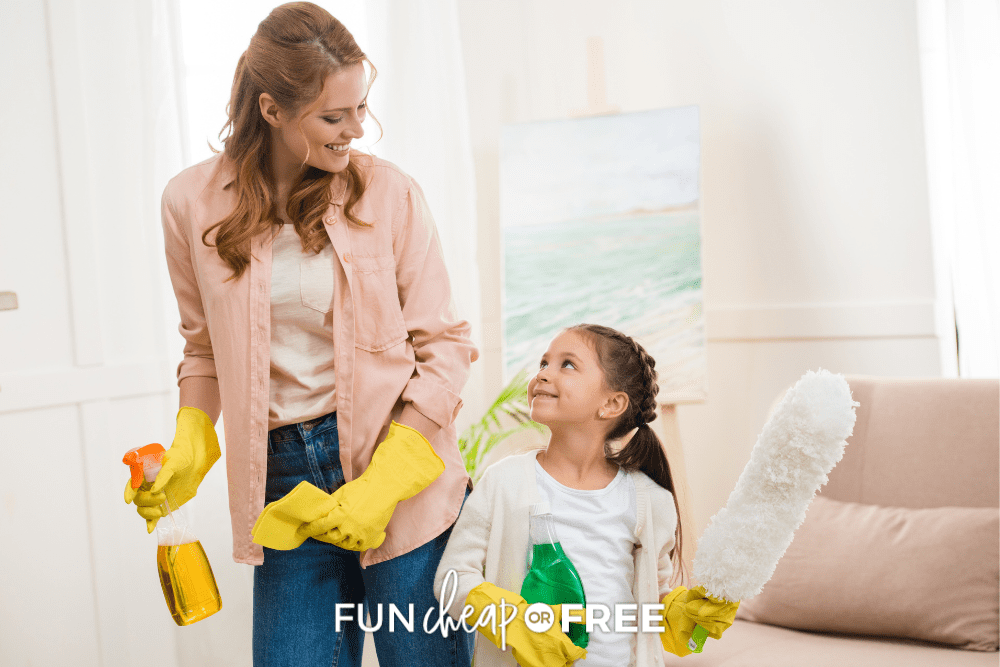 mom and daughter cleaning together, from Fun Cheap or Free