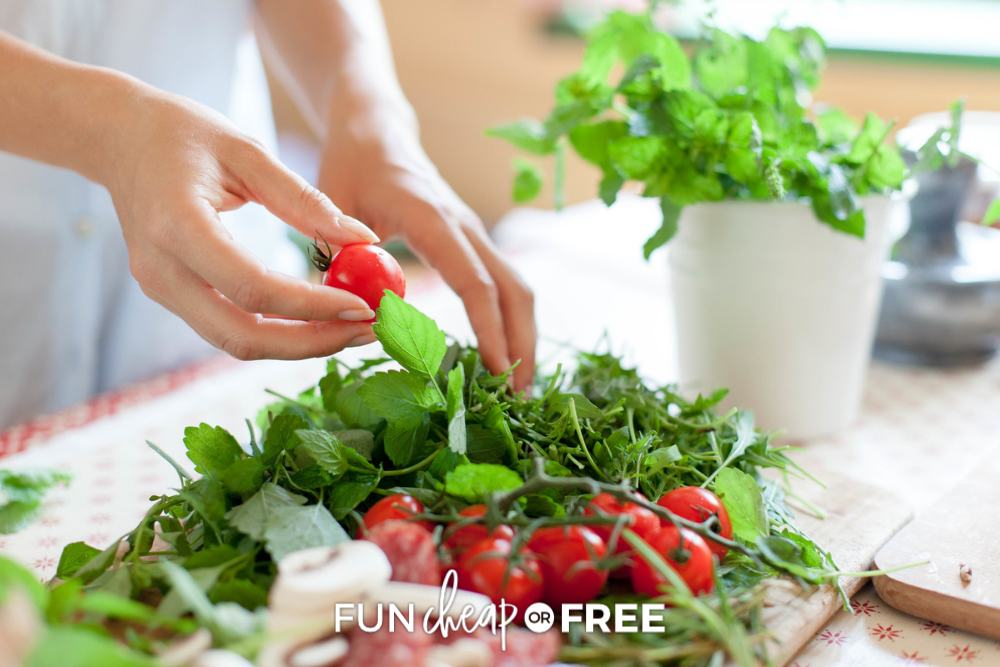 woman making a salad, from Fun Cheap or Free