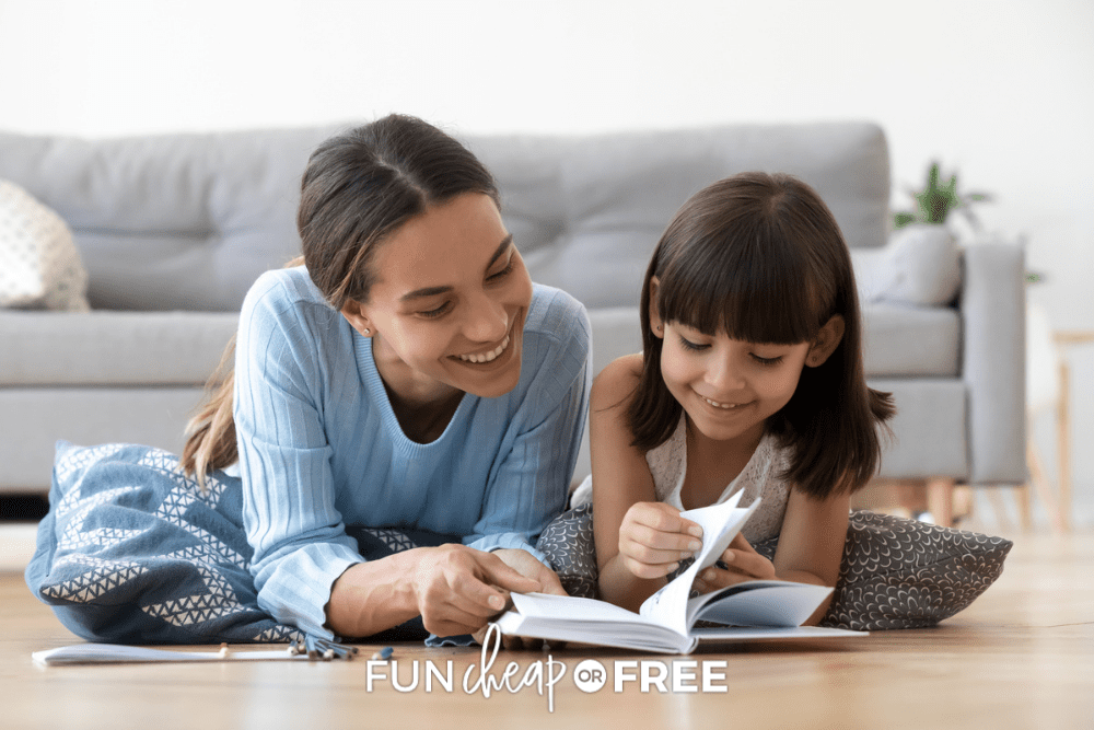 mom and daughter reading together, from Fun Cheap or Free