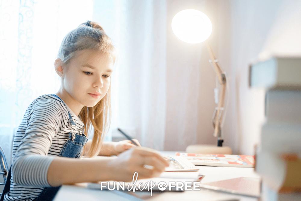 little girl doing homework, from Fun Cheap or Free