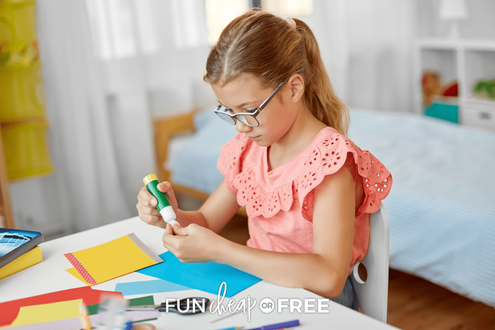 little girl making cards, from Fun Cheap or Free