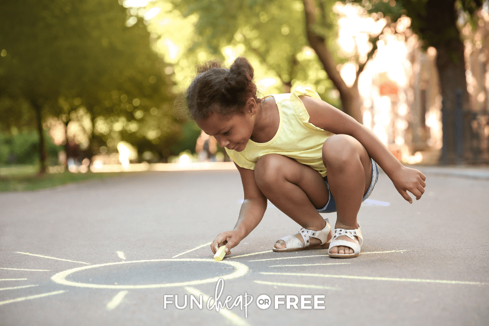 little girl drawing with sidewalk chalk, from Fun Cheap or Free