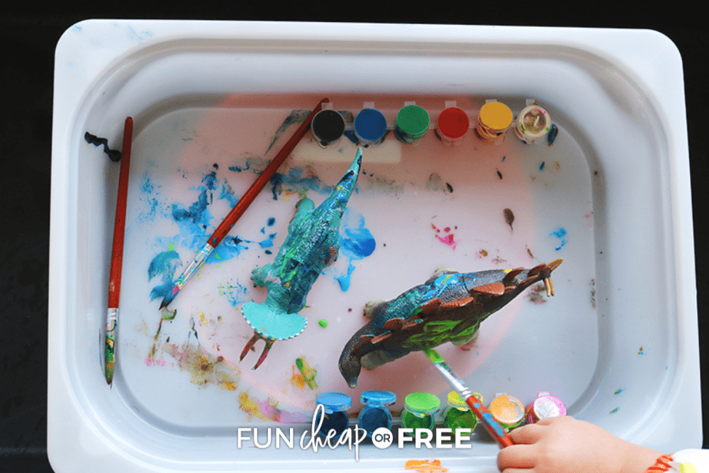 kid painting in a bucket, from Fun Cheap or Free