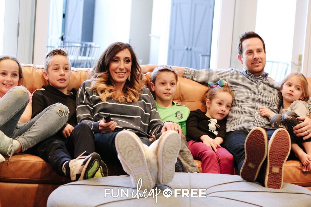 Family watching a movie together, from Fun Cheap or Free