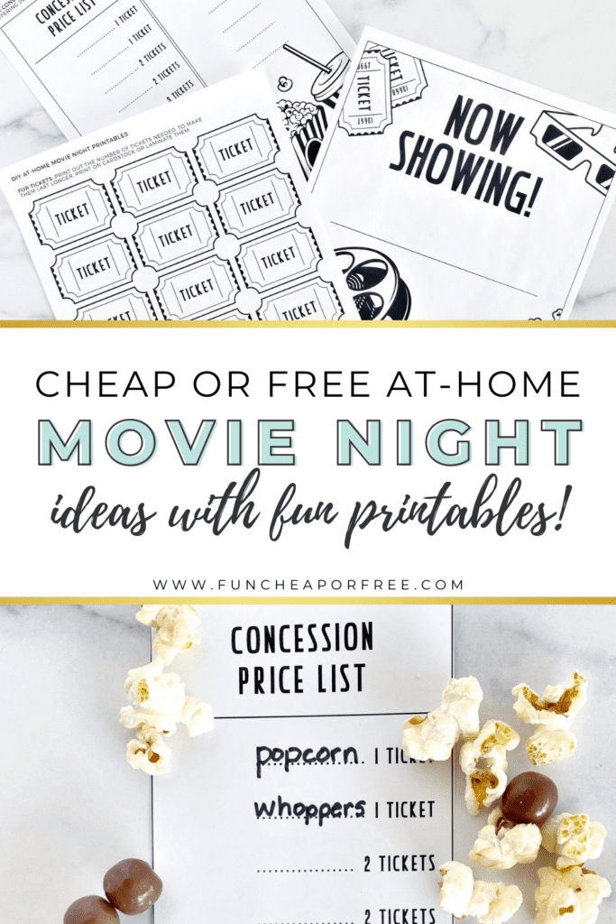 """Image with text that reads """"at-home movie night ideas"""" from Fun Cheap or Free"""