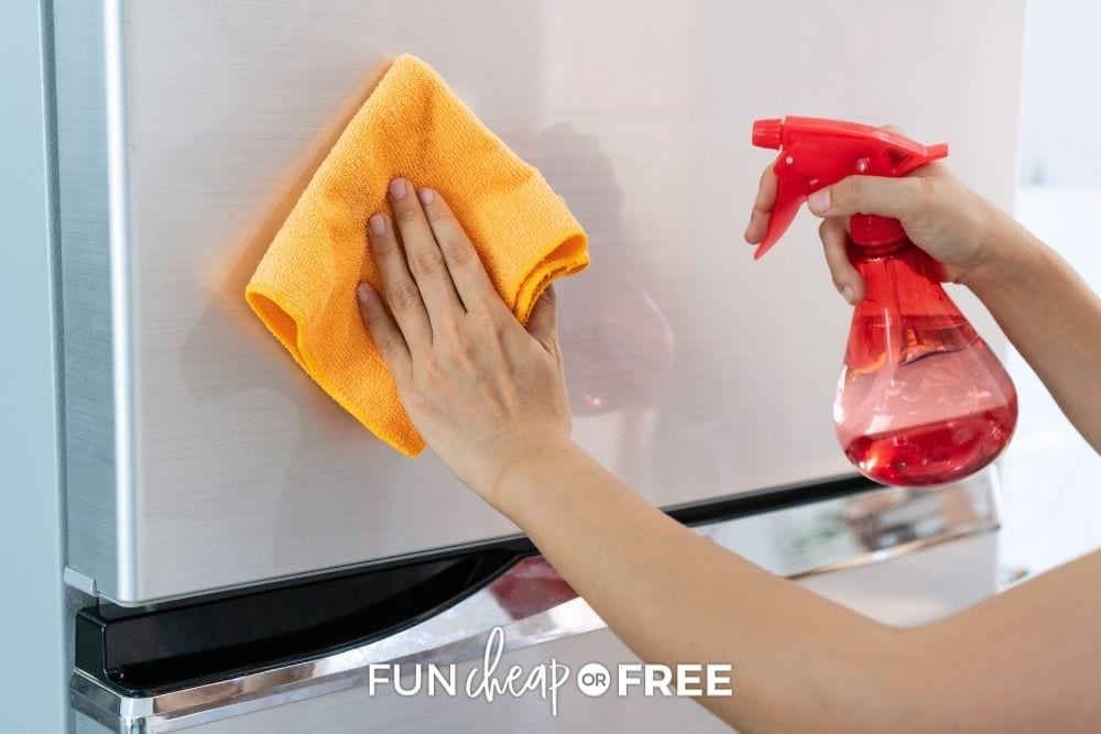 woman wiping fridge with rubbing alcohol, from Fun Cheap or Free
