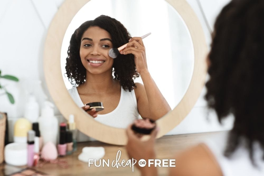woman putting on makeup, from Fun Cheap or Free