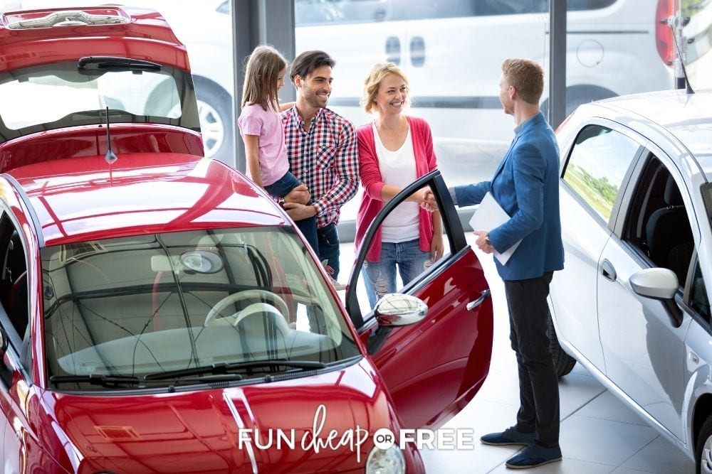 family buying a car, from Fun Cheap or Free