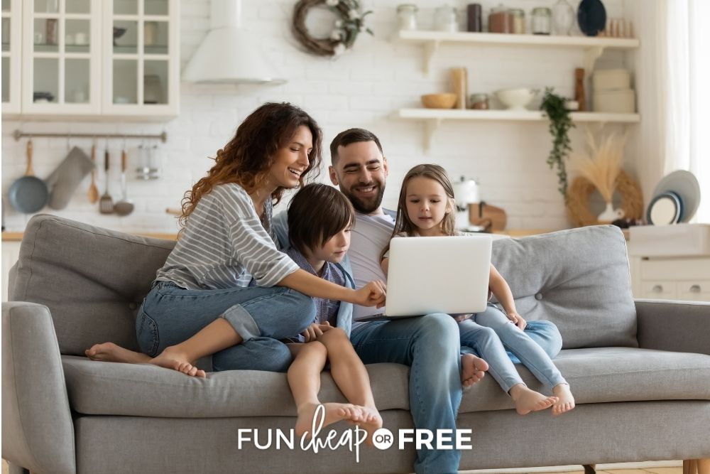 family sitting on couch, from Fun Cheap or Free