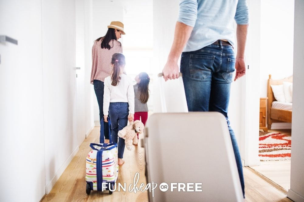 family rolling new luggage, from Fun Cheap or Free