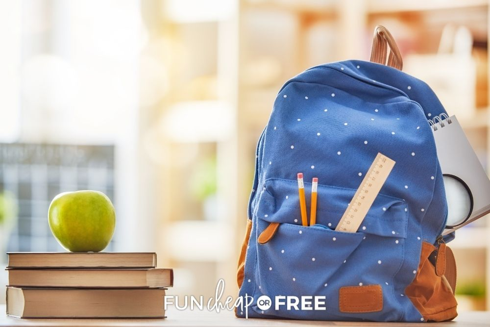 backpack filled with school supplies, from Fun Cheap or Free