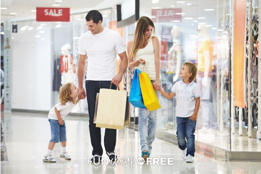 family shopping at a sale, from Fun Cheap or Free