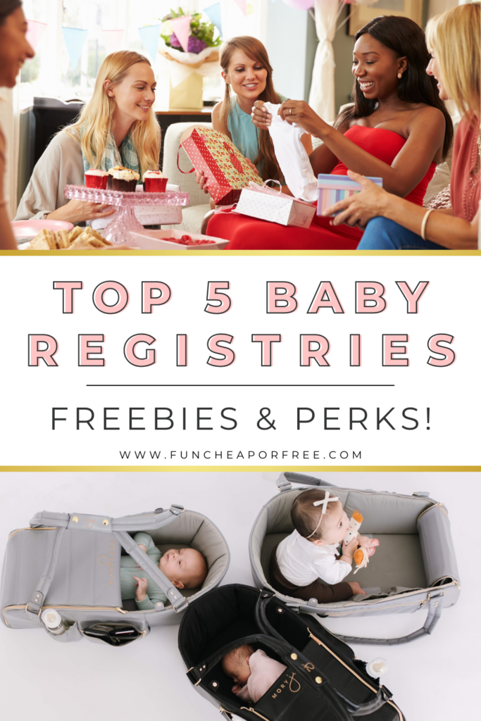 "Image with text that reads ""top 5 baby registries"" from Fun Cheap or Free"