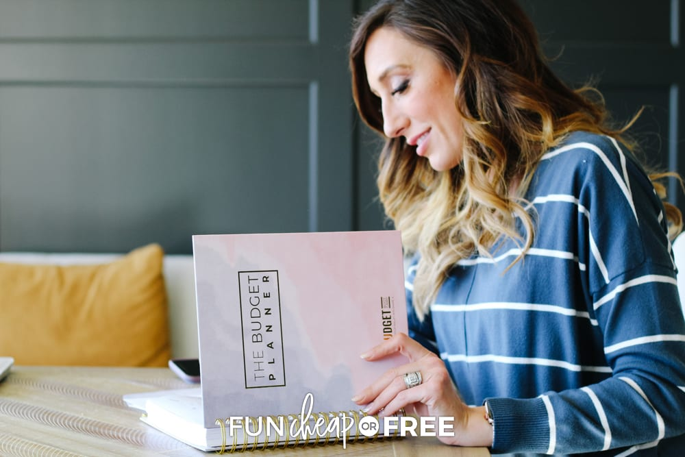 Jordan Page using budget planner, from Fun Cheap or Free