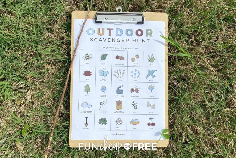 outdoor scavenger hunt printable for kids, from Fun Cheap or Free
