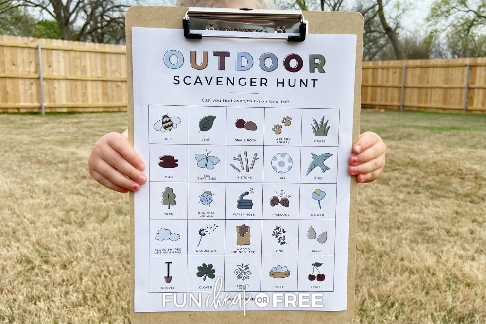 outdoor scavenger hunt for kids printable, from Fun Cheap or Free