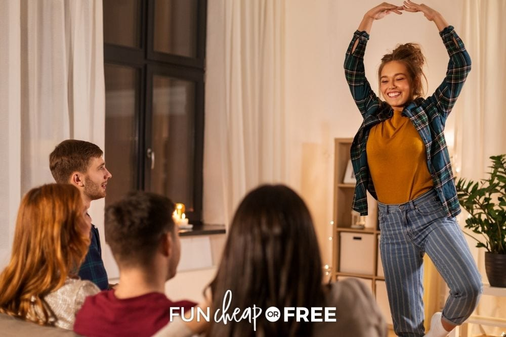 Teenagers playing charades, from Fun Cheap or Free.