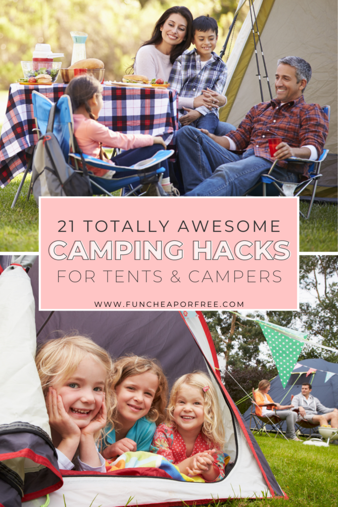 """Image with text that reads """"camping hacks"""" from Fun Cheap or Free"""
