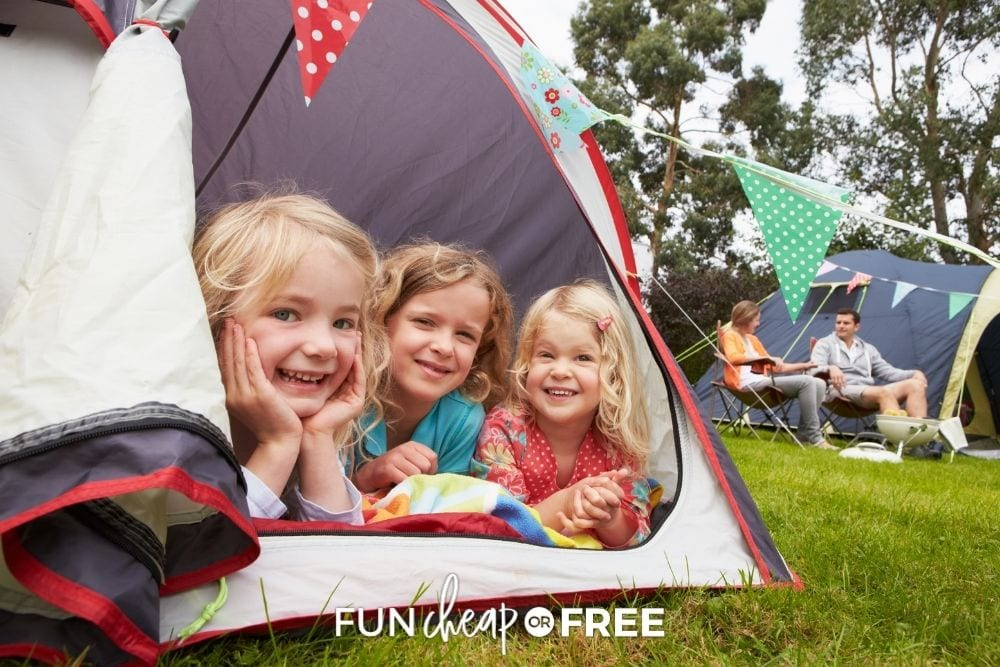 Extra tent with smiling kids from Fun Cheap or Free.