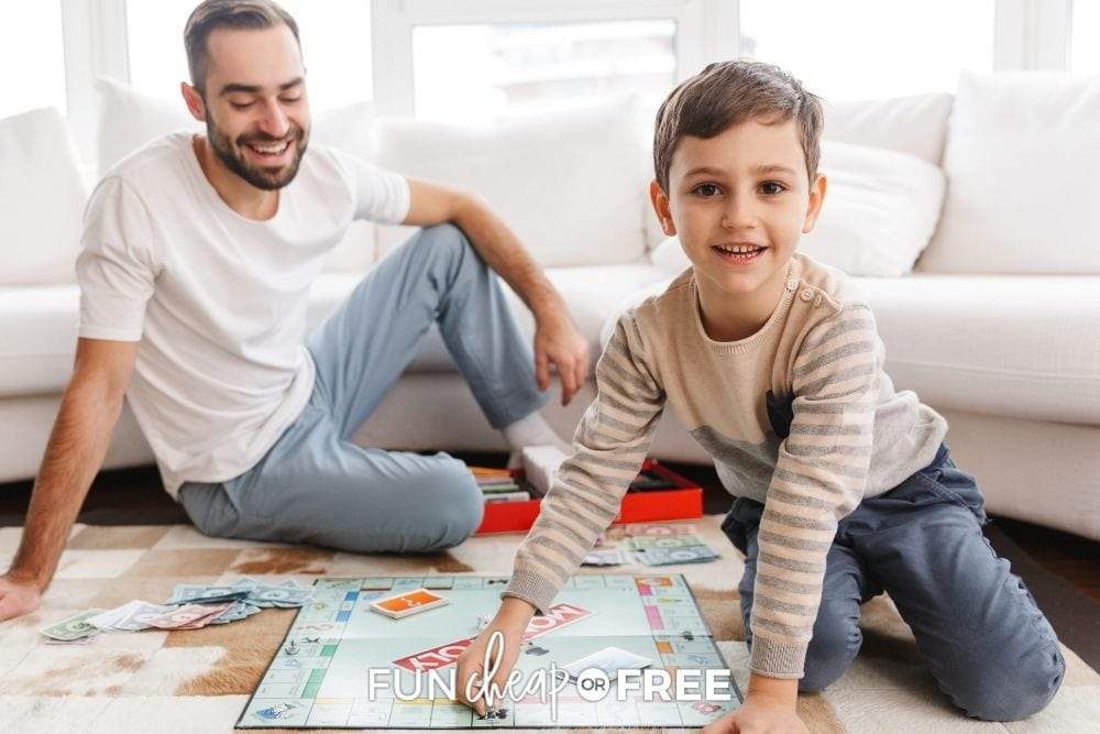 Dad and son playing monopoly, from Fun Cheap or Free.
