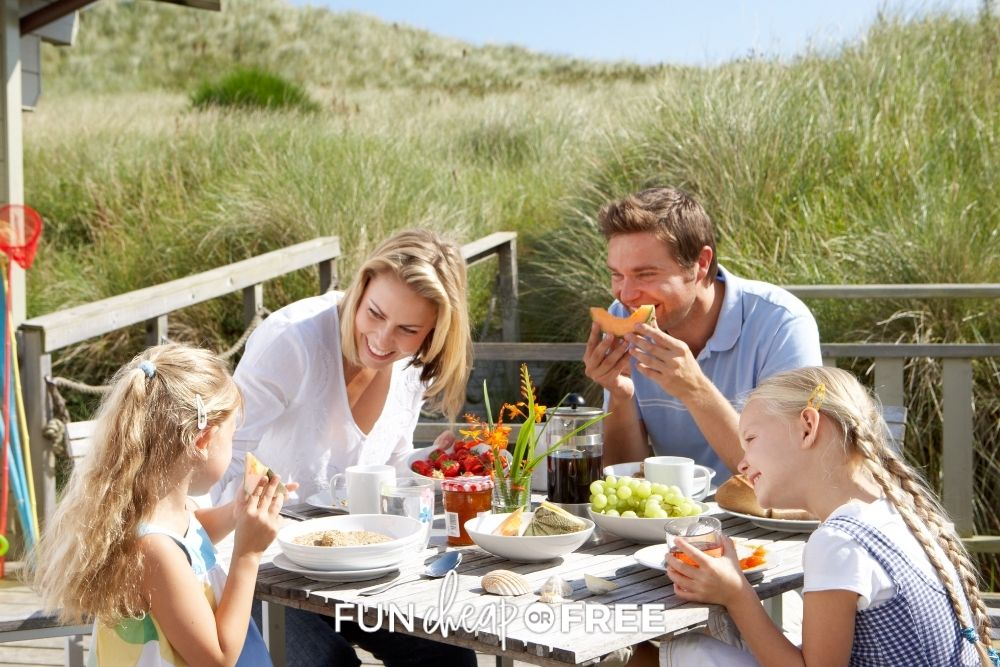 family eating on vacation at beach house, from Fun Cheap or Free