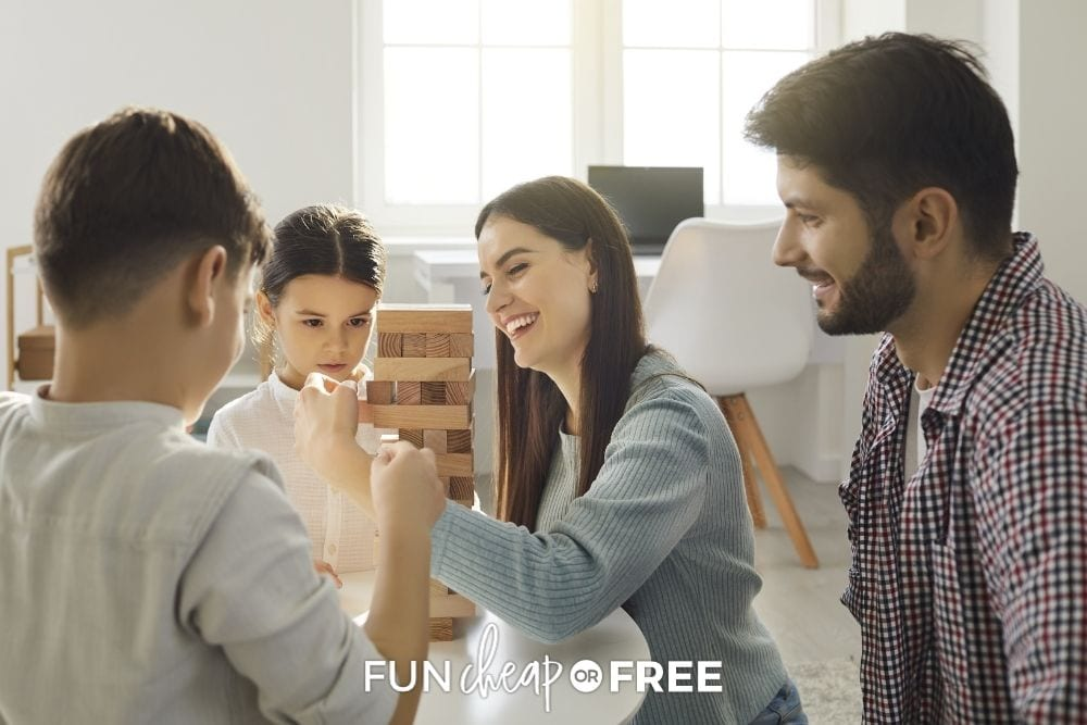 Family having game night, from Fun Cheap or Free.