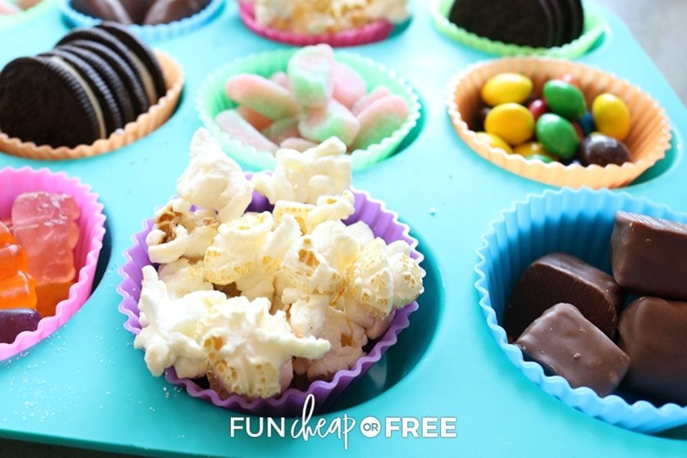 Muffin tin with varying snacks, from Fun Cheap or Free.
