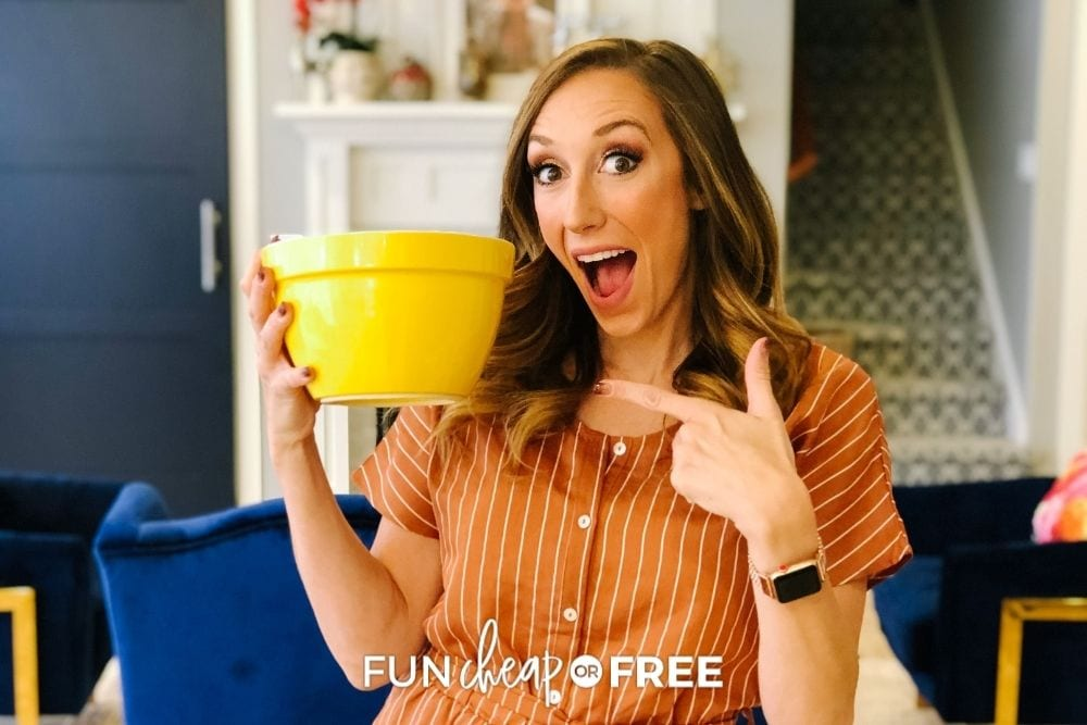 Jordan Page holding a bowl, from Fun Cheap or Free
