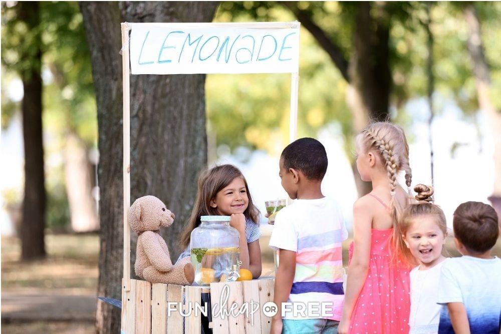 kids raising money at summer lemonade stand, from Fun Cheap or Free