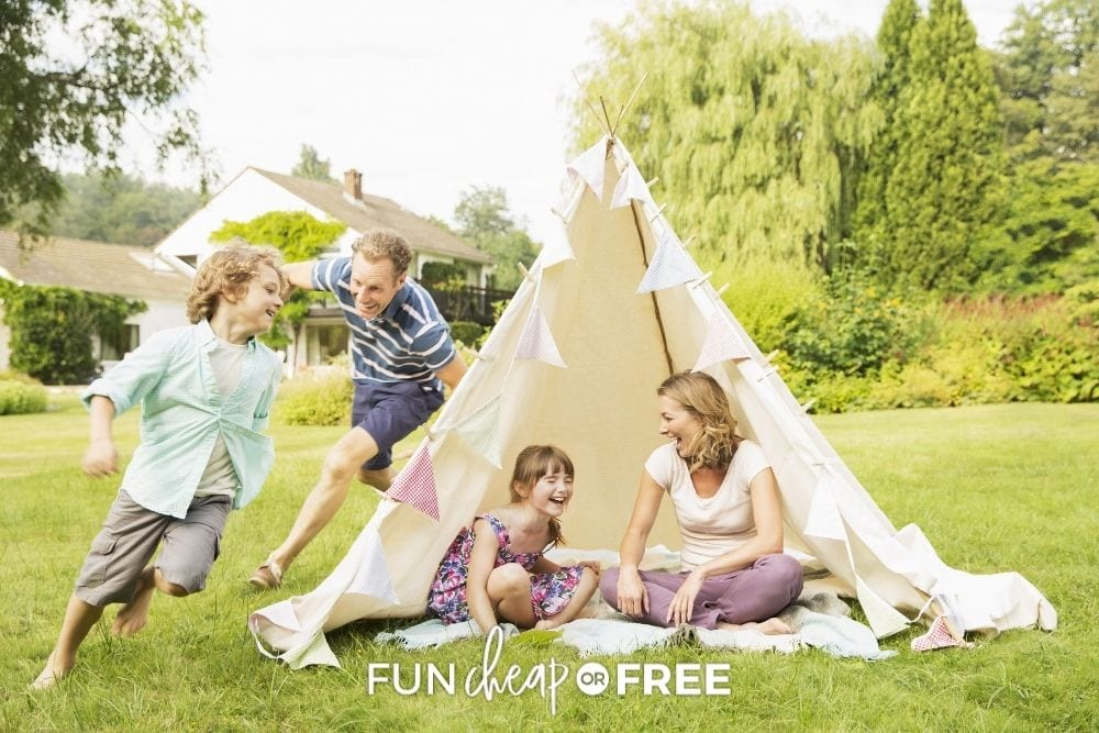 family playing in the backyard during summer, from Fun Cheap or Free