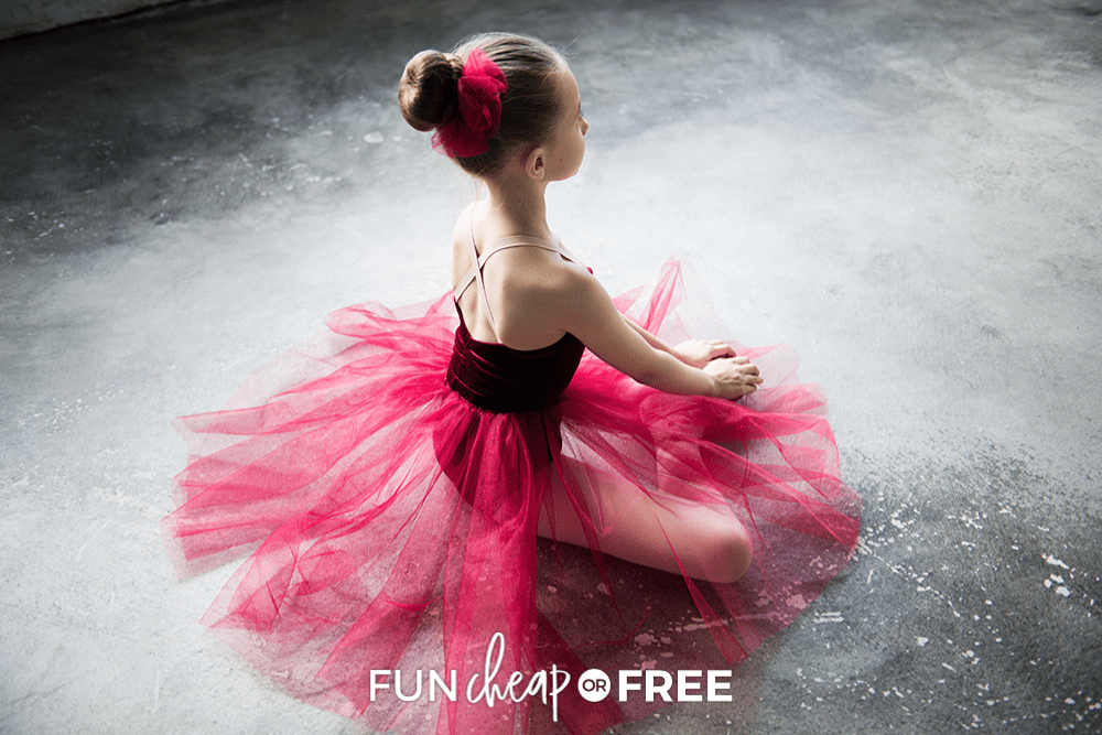 young girl stretching before ballet recital, from Fun Cheap or Free
