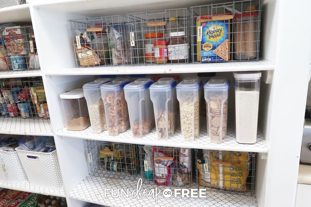 Pantry organization containers from Fun Cheap or Free.