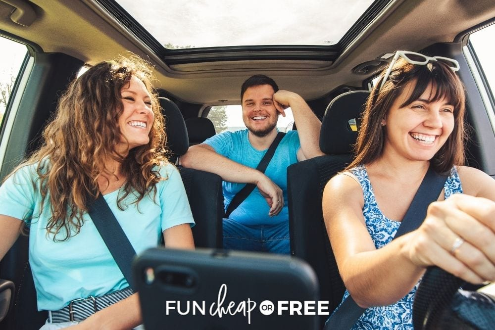 Friends smiling in the car from Fun Cheap or Free.