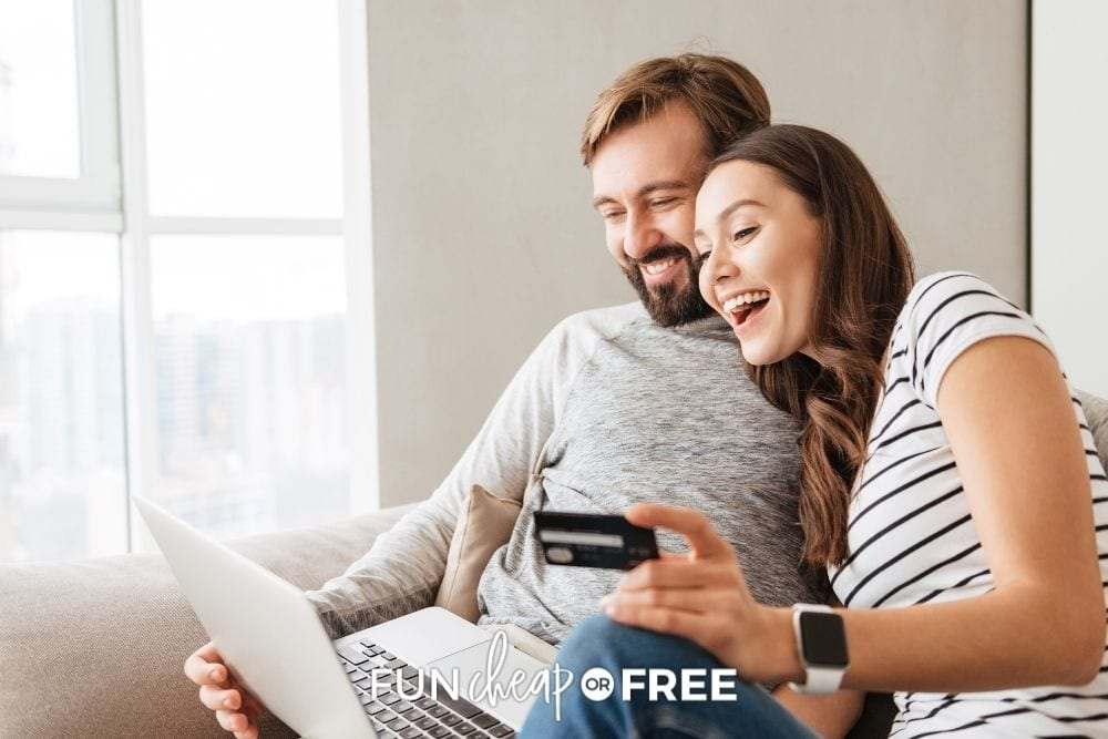 couple on couch shopping on Amazon, from Fun Cheap or Free