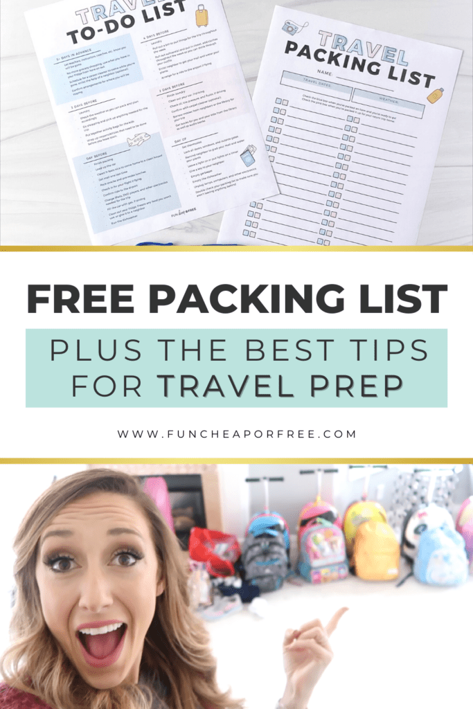 Printable packing list on a desk, from Fun Cheap or Free