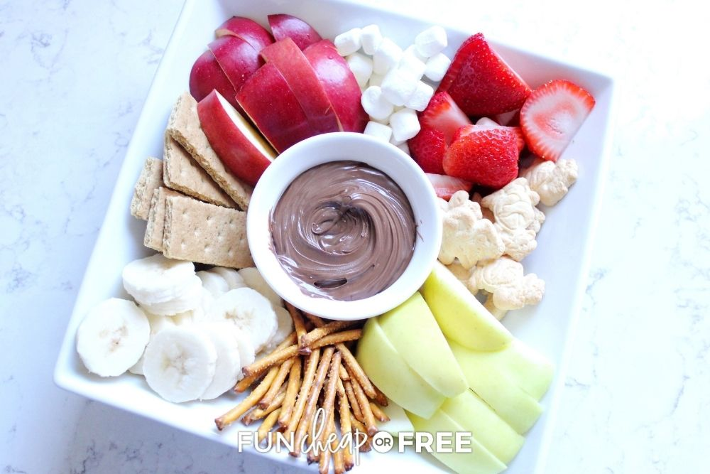 Nutella and snacks on a platter from Fun Cheap or Free.