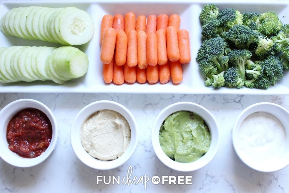 Veggies and dip on a platter from Fun Cheap or Free.
