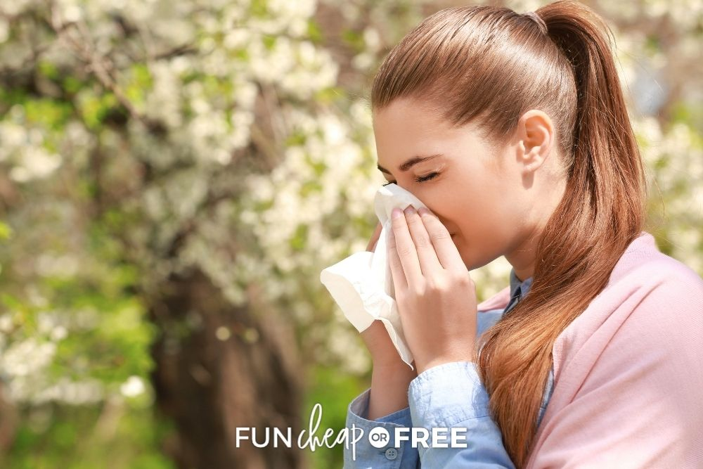 Woman sneezing outside from Fun Cheap or Free.
