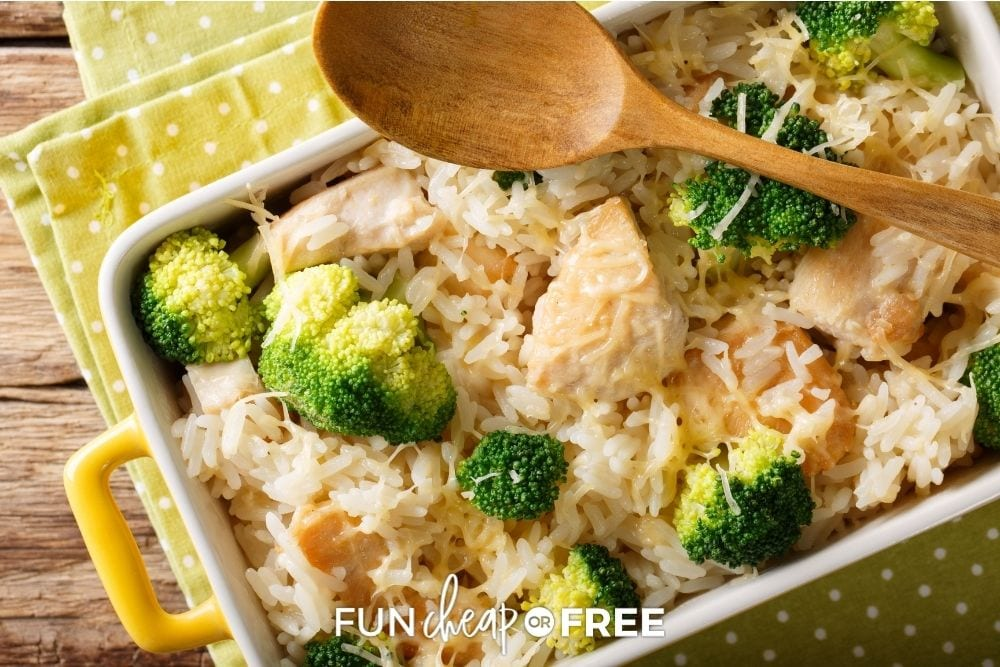 Chicken broccoli rice casserole in a dish on the counter from Fun Cheap or Free.