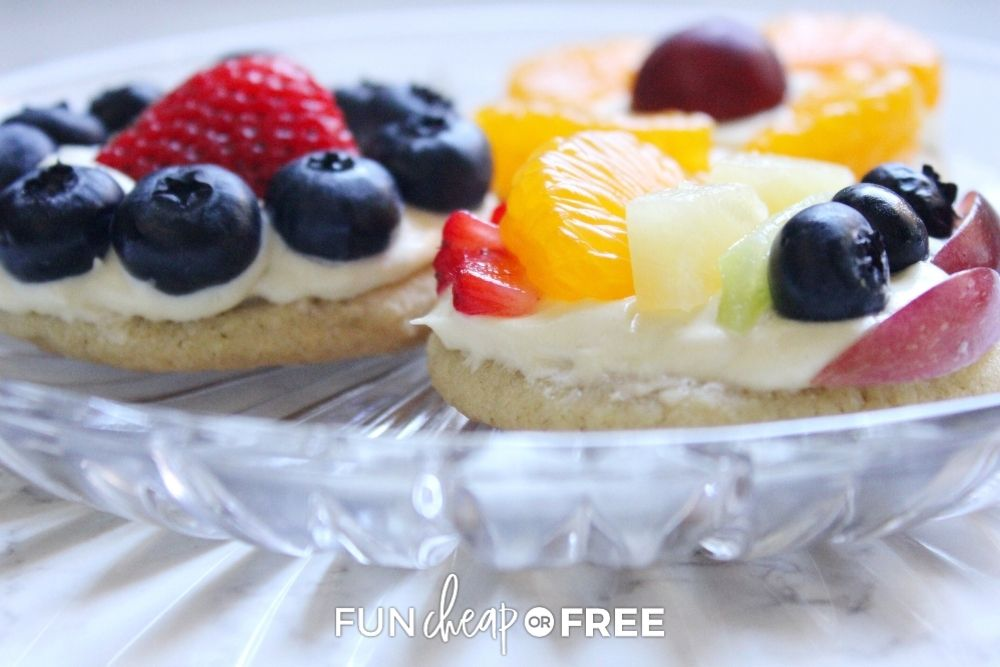 Fruit pizza on a plate from Fun Cheap or Free.