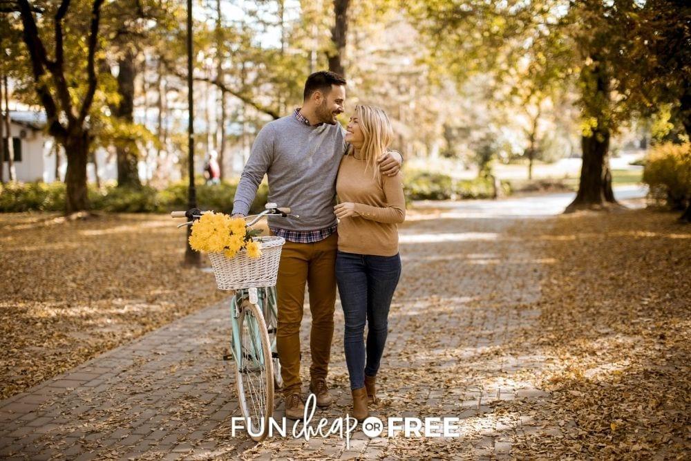 couple biking on a fall date, from Fun Cheap or Free