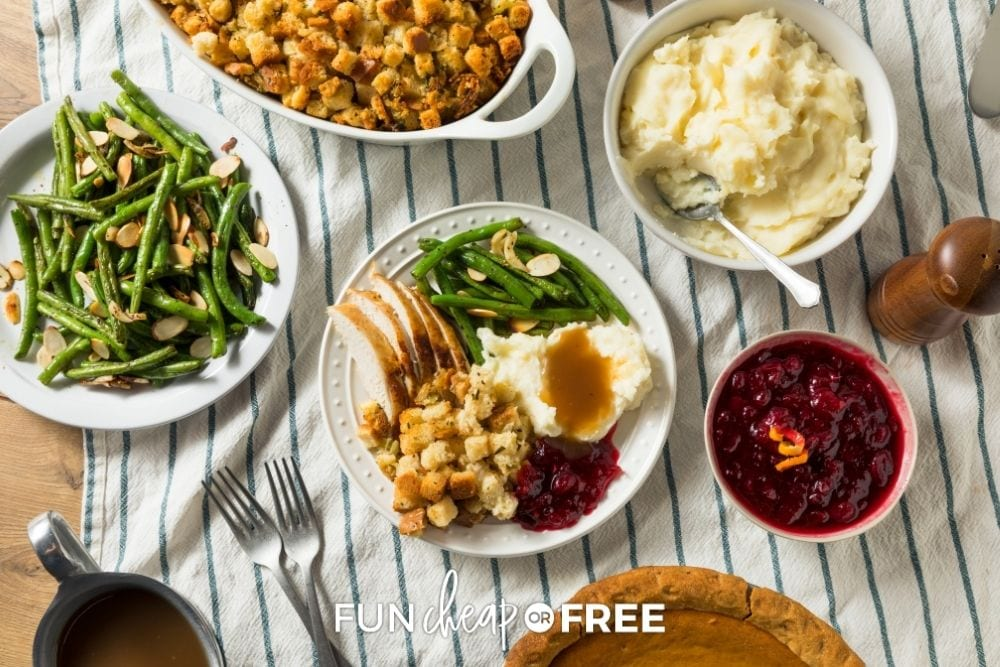 fall Thanksgiving feast on table, from Fun Cheap or Free