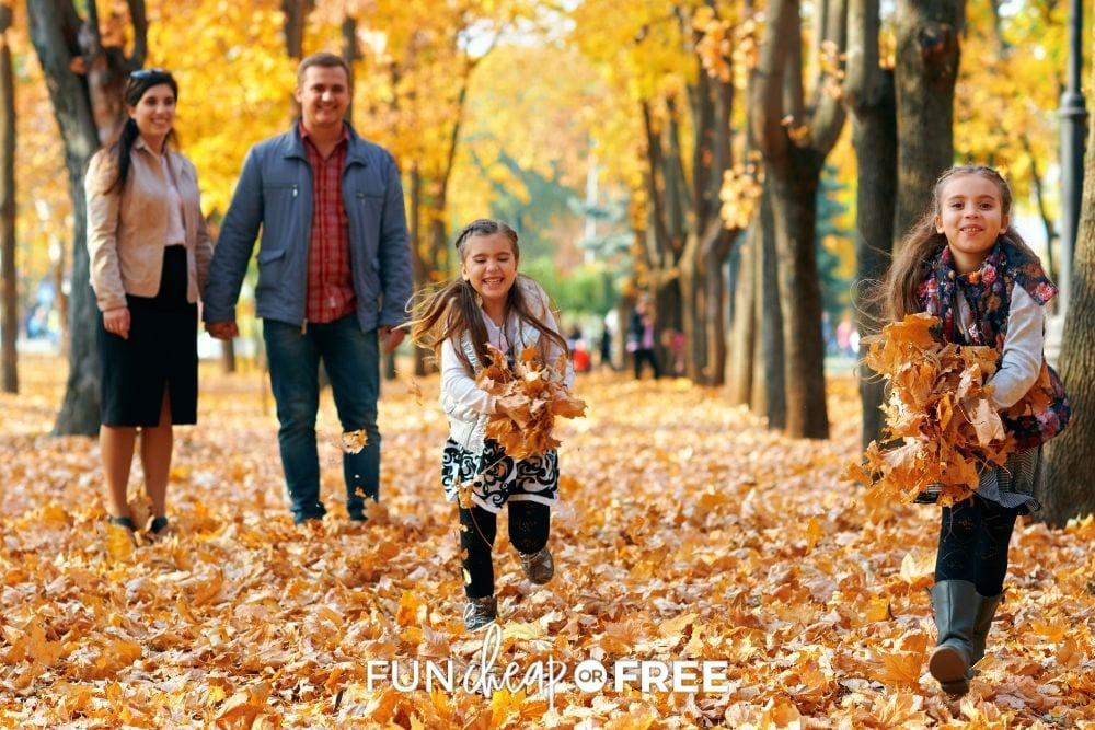 family walking through the park in the fall, from Fun Cheap or Free