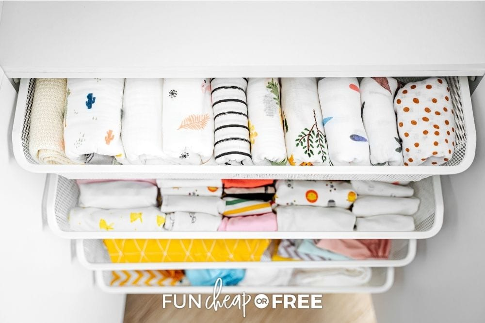 Blankets and clothing organized in drawers from Fun Cheap or Free.