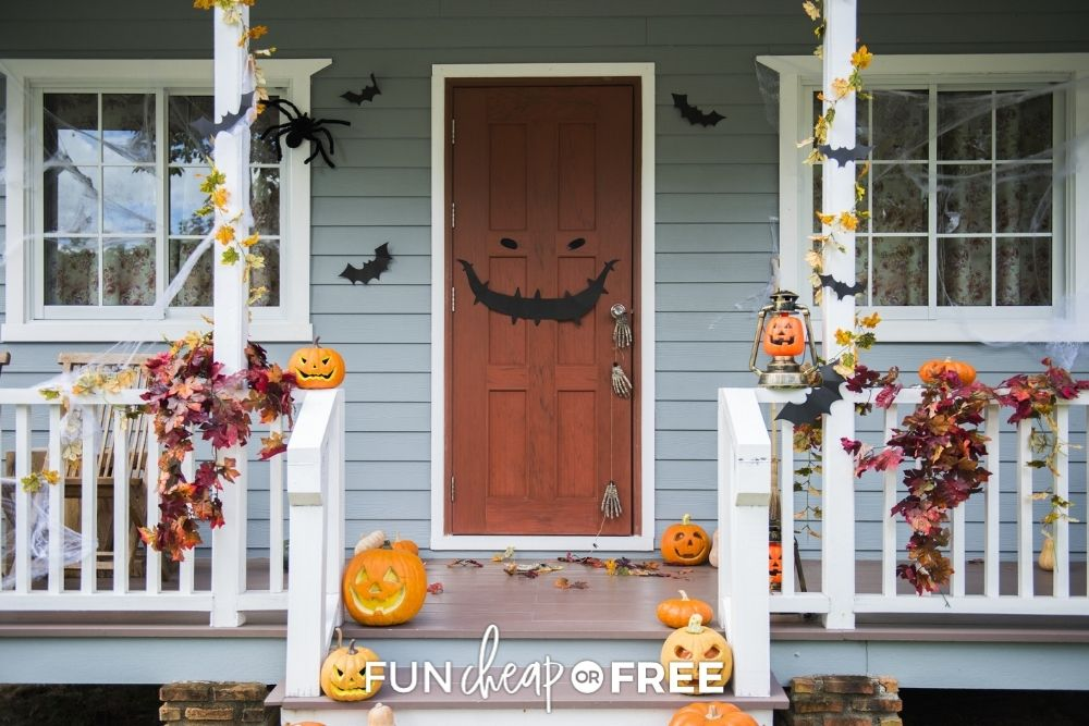 Front porch decorated for Halloween from Fun Cheap or Free.
