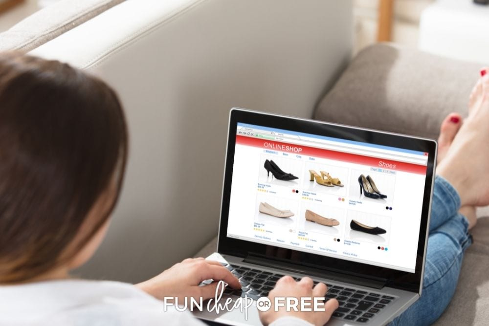 Woman shopping online for shoes from Fun Cheap or Free.