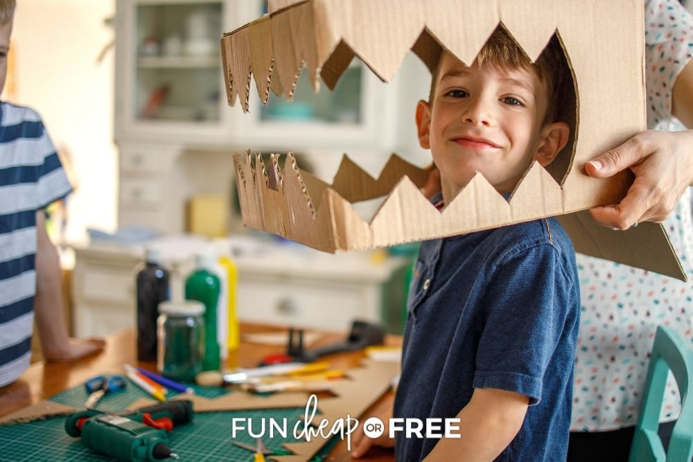 little boy in dino costume made from box, from Fun Cheap or Free
