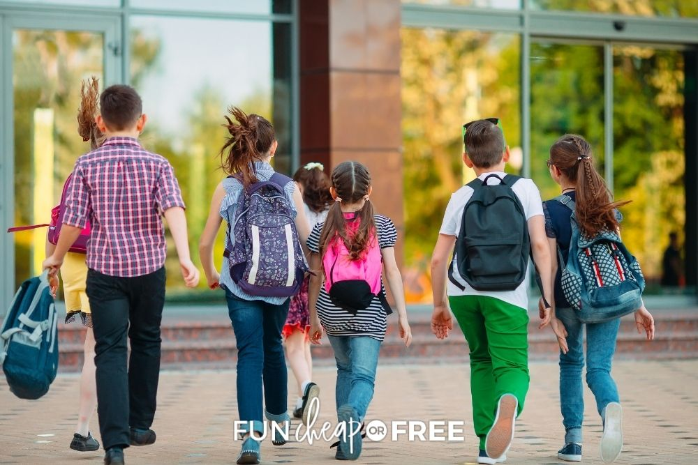 group of kids walking into school, from Fun Cheap or Free